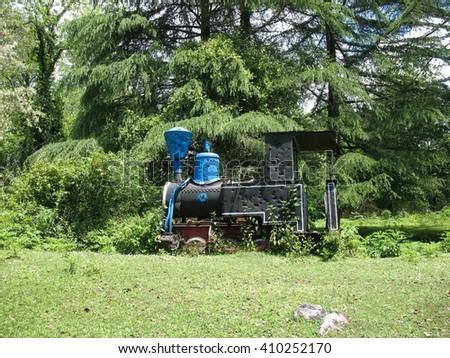 Former German locomotive Jung on the mountains near New Athos. Abkhazia. - stock photo
