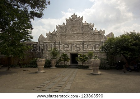 former palace of indonesian sultan: taman sari castle, jogjakarta - stock photo