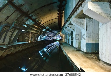 Former soviet submarine underground base - stock photo