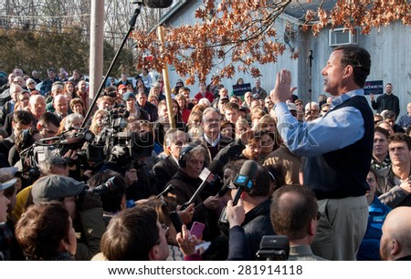 Former U.S. Senator Rick Santorum, Republican of Pennsylvania, speaks in Hollis, New Hampshire, on January 7, 2012, during the New Hampshire primary. - stock photo