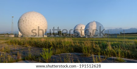 Former United States Army Security Agency Field Station at Bad Aibling in Germany. The base was closed in 2004 and returned to the Federal Republic of Germany. Area is now used as a technology park.  - stock photo