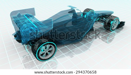 formula car technology wireframe sketch upper back view motorsport product background design of my own - stock photo