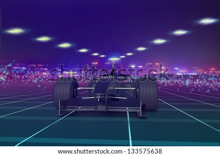 Formula one concept car on track at night 3D - stock photo