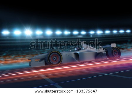 Formula one concept car on track at night 3D