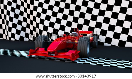 Formula 1 Sport car in the winner position - stock photo