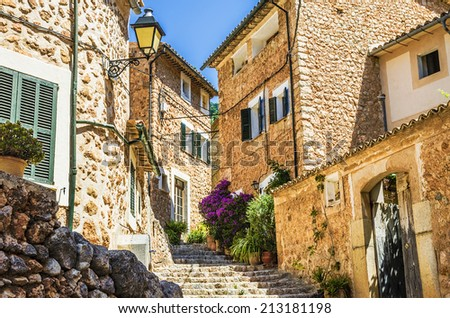 Fornalutx village streets - stock photo