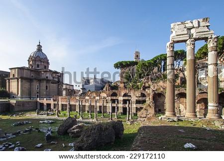 Foro Romano Roman Forum ruins in the center of Rome Italy - stock photo