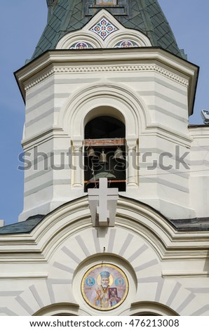 Foros, Crimea - April 09: The bell tower of Christ Resurrection Church  on April 09, 2016  in Foros, Crimea.