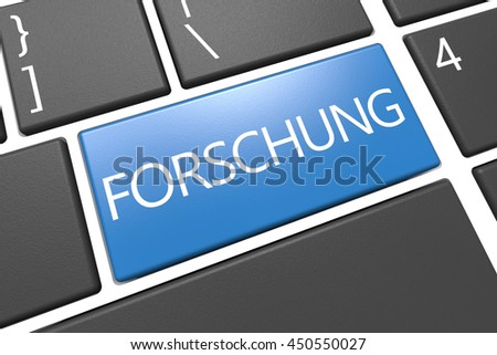 Forschung - german word for research - keyboard 3d render illustration with word on blue key
