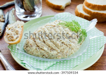 Forshmak fish paste recipe of traditional Jewish cuisine. Pate of salty herring with butter selective focus - stock photo