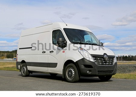 FORSSA, FINLAND - APRIL 25, 2015: New Renault Master Van parked. In terms of style, the 2014 Master boasts a new grille. - stock photo