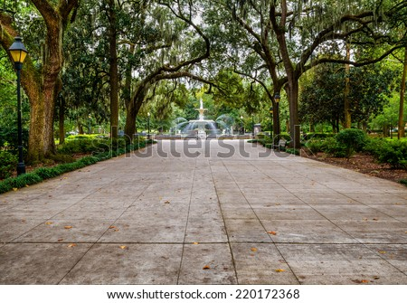 Forsyth Park in Savannah, GA - stock photo