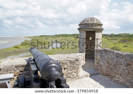 Fort cannon at Florida river south of St Augustine, Florida                    - stock photo