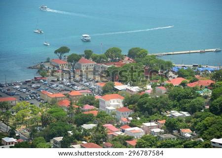 Fort Christian built in 1671 by Danish of Charlotte Amalie, Saint Thomas Island, US Virgin Islands, USA - stock photo