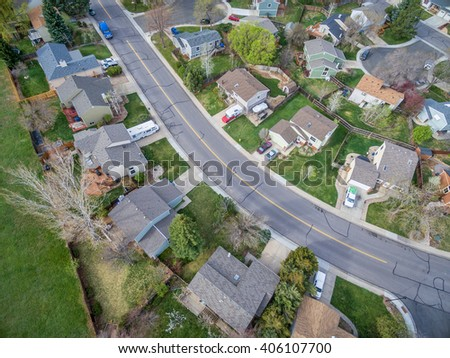 FORT COLLINS, CO, USA - APRIL 15, 2016: Aerial  view of typical residential neighborhood along Front Range of Rocky Mountains in Colorado in early spring (mid April) - stock photo