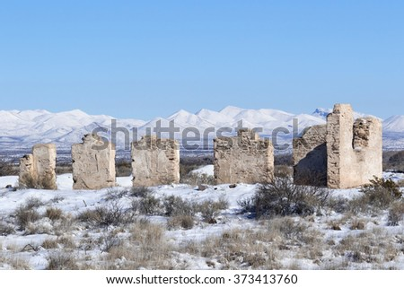 Fort Craig Commanding Officers Quarters Ruin in Winter, New Mexico - stock photo