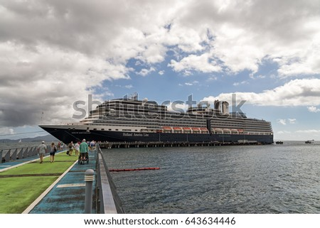 FORT-DE-FRANCE, MARTINIQUE - JANUARY 24, 2017: The large cruise ship Nieuw Amsterdam from Holland America Line is docked at the pier in Fort-de-France, Martinique.