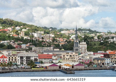 FORT-DE-FRANCE, MARTINIQUE - JANUARY 24, 2017: View of downtown Fort-de-France in Martinique who is an overseas region of France. This is a very popular tourist destination especially in winter.