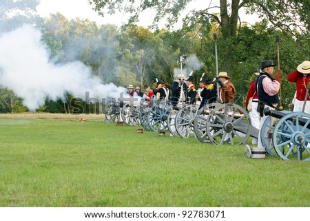 FORT ERIE, ONTARIO, CANADA - AUGUST 2010  Unidentified soldiers reenact battles fought during the War of 1812 on August 7, 2010.  2012 marks the bicentennial of this war.