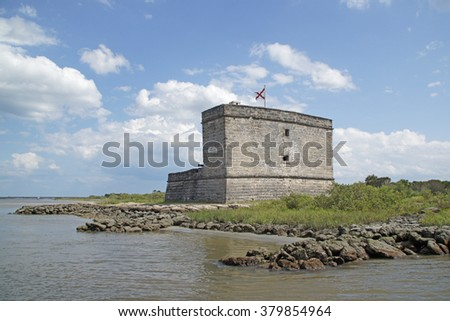 Fort from early Spanish settlement at St Augustine, Florida                    - stock photo