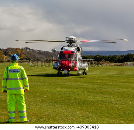 FORT GEORGE, INVERNESS-SHIRE, SCOTLAND - 16 APRIL: Scene from the Maritime & Coastguard Agency exercise, Rescue 951 Inverness SAR Helicopter at Fort George, Inverness-shire, Scotland on 16 April 2016.
