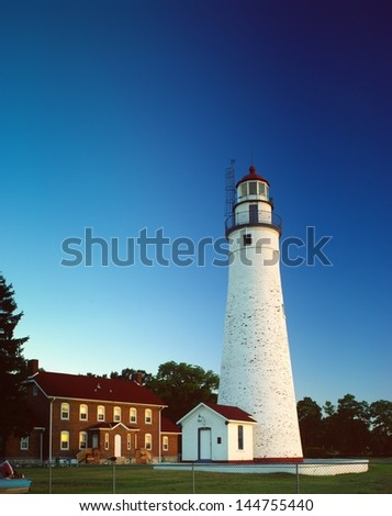 Fort Gratiot Lighthouse at dawn - stock photo