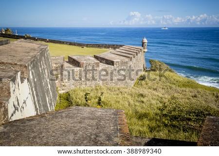 Fort in old San Juan, Puerto Rico - stock photo