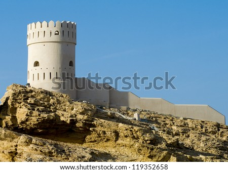 Fort  in Sur in the Sultanate of Oman in the Middle East. - stock photo