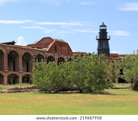 Fort Jefferson in Dry Tortugas National Park is an imposing structure from the past. - stock photo