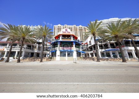 FORT LAUDERDALE - APRIL 9: Image of Beach Place which is an outdoor promenade shopping plaza located at 17 S Ft Lauderdale Beach Blvd April 9, 2016 in Fort Lauderdale FL, USA - stock photo