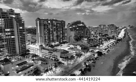 Fort Lauderdale at twilight, aerial view. - stock photo