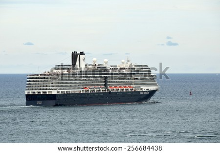 FORT LAUDERDALE - DECEMBER 21: Holland America Eurodam ocean liner leaves the port of Fort Lauderdale, Florida on December 21, 2014. Fort Luaderdale is a popular cruise gateway. - stock photo