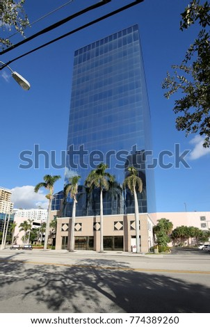 "FORT LAUDERDALE, FL - DECEMBER 2:  Broward County Public Schools downtown headquarters called the Kathleen C. Wright School Board Building aka ""The Crystal Palace"" as seen on December 2, 2017."