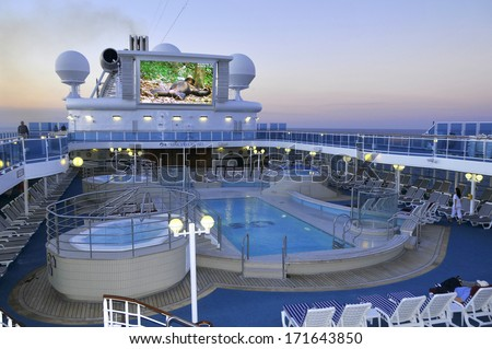 FORT LAUDERDALE, FL - NOV 2: Upper deck of Princess cruise ship on 11-2-2012 in Fort Lauderdale Florida. Princess Cruises agreed to have their cruise ships featured in the television sitcom The Love Boat, - stock photo