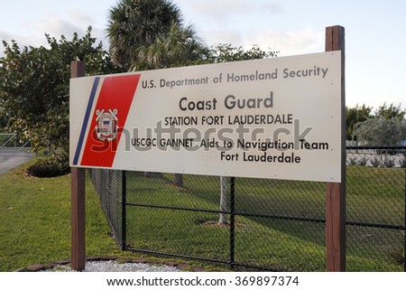 Fort Lauderdale, FL, USA - December 20, 2014: US Department of Homeland Security, Coast Guard Station Fort Lauderdale, USCGC Gannet Aids to Navigation Team, Fort Lauderdale - stock photo