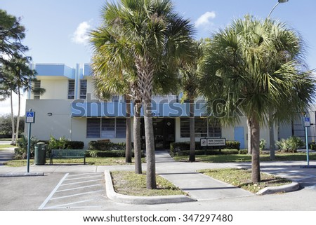 Fort Lauderdale, FL, USA - November 30, 2014: Front exterior of Park Ranger Headquarters two story public building. Park Ranger Headquarters building located in Holiday Park.