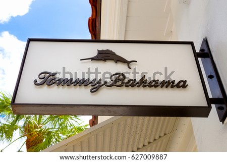 FORT LAUDERDALE, FLA/USA - APRIL 10, 2017: Tommy Bahama exterior store sign and logo. Tommy Bahama is a Seattle-based manufacturer of casual, men's and women's clothing.