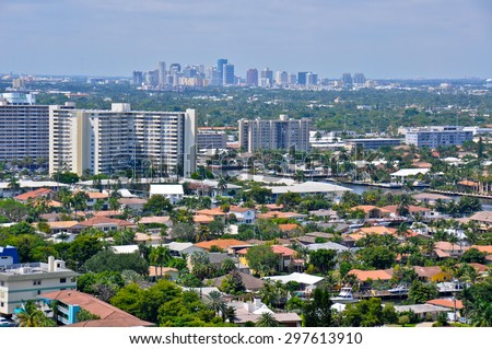 Fort Lauderdale, Florida. Aerial view of the city showing downtown in the background.