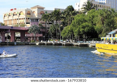 FORT LAUDERDALE, FLORIDA - FEBRUARY 3: The Riverwalk area is a popular public park in downtown that is great for walking, relaxing and entertainment February 3, 2013 in Ft Lauderdale, Florida. - stock photo