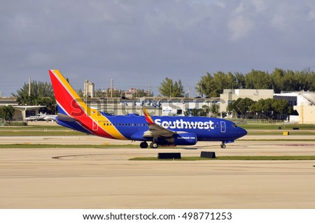 FORT LAUDERDALE - OCTOBER 5: Southwest Airlines jet arrives in Fort Lauderdale from Dallas on October 5, 2016. The airlines has large presence in the popular beach destination.