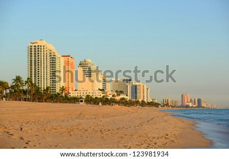 Fort Lauderdale south beach park at sunrise, Florida, USA - stock photo