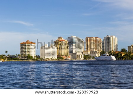 FORT LAUDERDALE, USA - AUG 20, 2014: Luxurious waterfront home in Fort Lauderdale. There are 165 miles of waterways within the city limits and 9,8 percent of the city is covered by water.