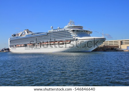 FORT LAUDERDALE, USA - FEBRUARY 15, 2014 : Crown Princess ship docked at Port Everglades pier in Florida. Crown Princess is a Grand-class cruise ship owned by Princess Cruises
