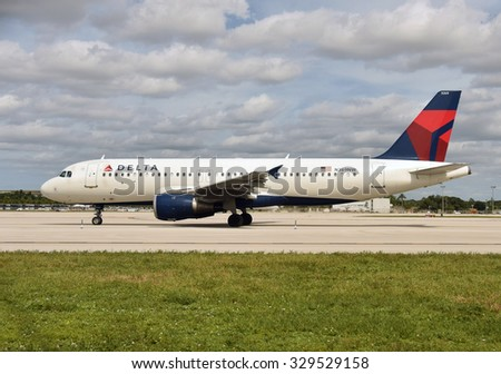 Fort Lauderdale, USA - October 17, 2015: Delta passenger jet airplane Airbus A-320 departs from Fort Lauderdale to its home base in Atlanta on Octover 17, 2015 - stock photo