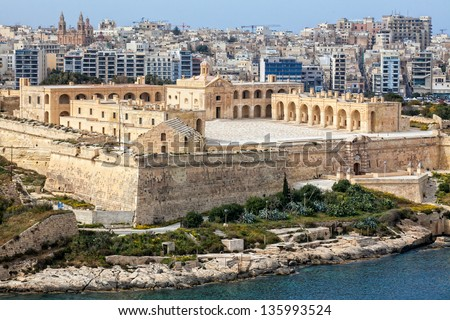 Fort Manoel as seen from Hastings Gardens in Valletta. - stock photo