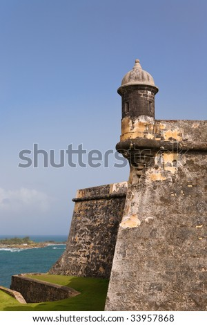 Fort Morro gun tower, the iconic symbol of Puerto Rico - stock photo
