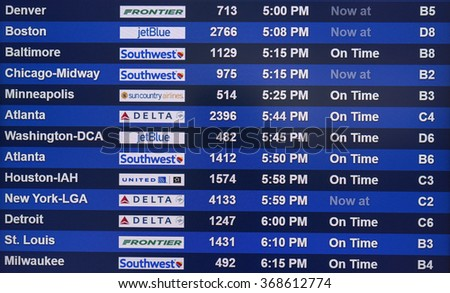 FORT MYERS - 19 Jan 2016. Flight schedule information board in an airport, SWFL International airport.