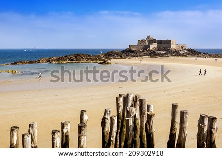 Fort National in Saint Malo, France, on a bright summer day. - stock photo