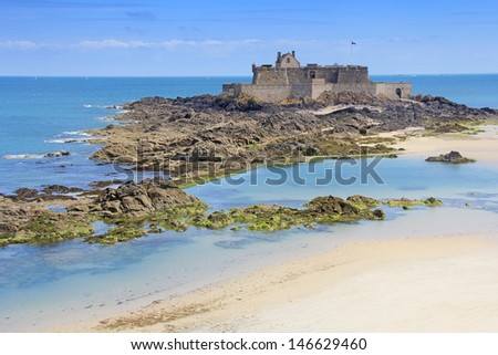Fort on island Petit Be in Saint-Malo, Brittany, France - stock photo