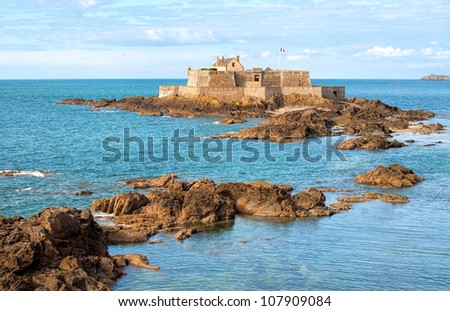 Fort on tidal island Petit Be in Saint-Malo, Brittany, France - stock photo